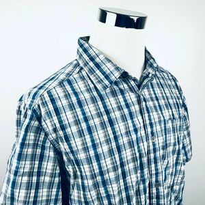 Merrell XL Short Sleeve Outdoor Shirt Blue Plaid